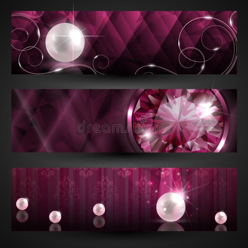 Geplaatste de banners van juwelen vector illustratie