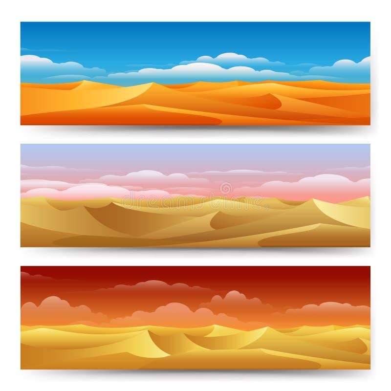 Geplaatste de banners van zandduinen royalty-vrije illustratie