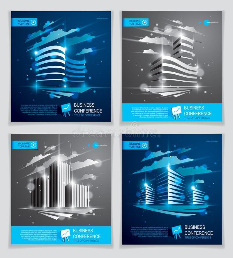 Geplaatste de brochures van bureaugebouwen, moderne architectuur vectorvlieger stock illustratie