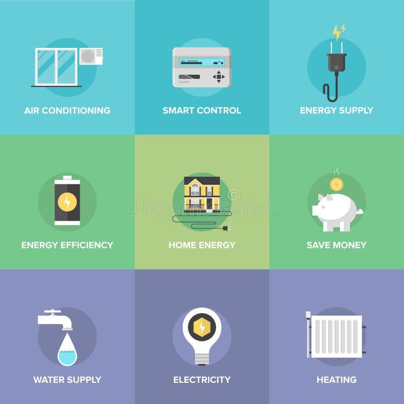 Geplaatste de controle vlakke pictogrammen van de huisenergie stock illustratie