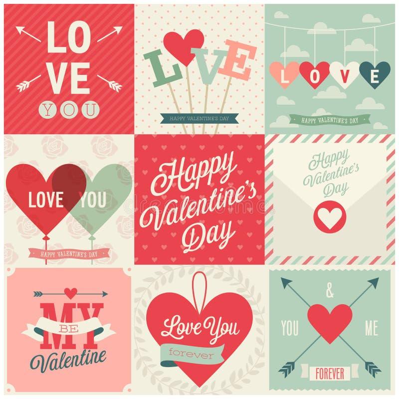 Geplaatste de dag van Valentine ` s - emblemen en kaarten stock illustratie