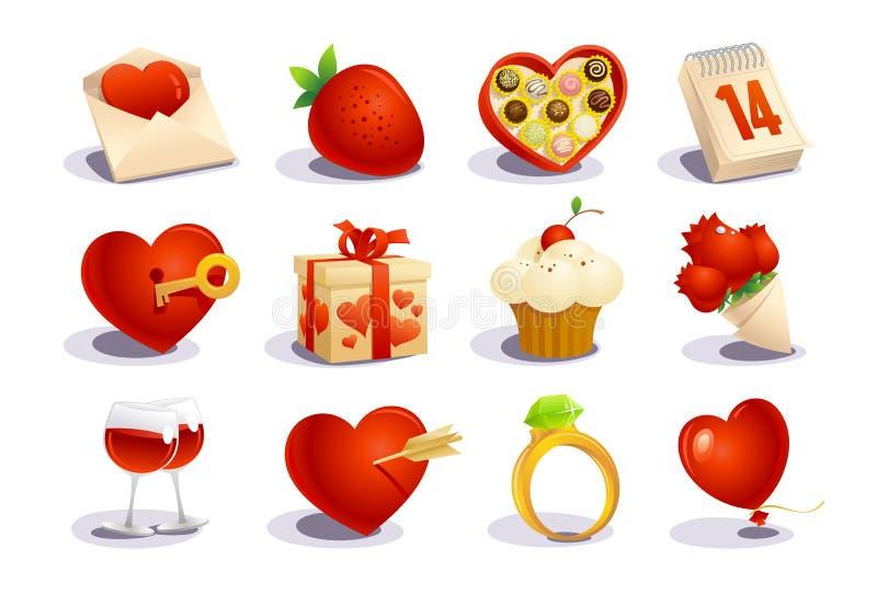 Geplaatste de dagpictogrammen van valentijnskaarten vector illustratie