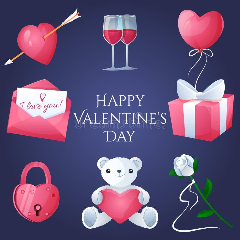 Geplaatste de dagpictogrammen van Valentine royalty-vrije illustratie