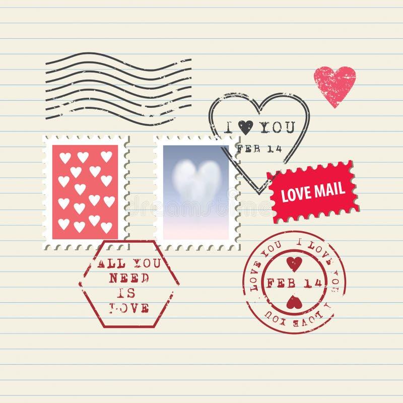 Geplaatste de Dagzegels van Valentine stock illustratie