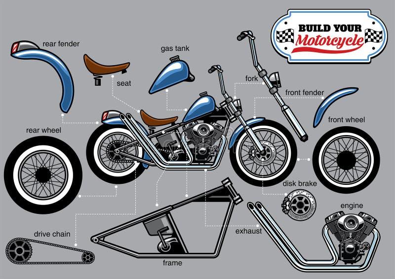 Geplaatste de delen van de de bouwmotorfiets vector illustratie