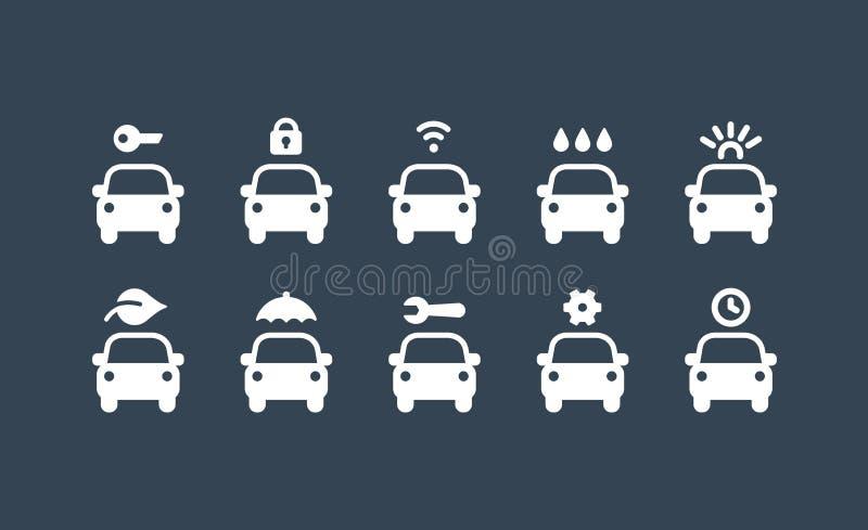 Geplaatste de dienstpictogrammen van de auto E Vector illustratie royalty-vrije illustratie