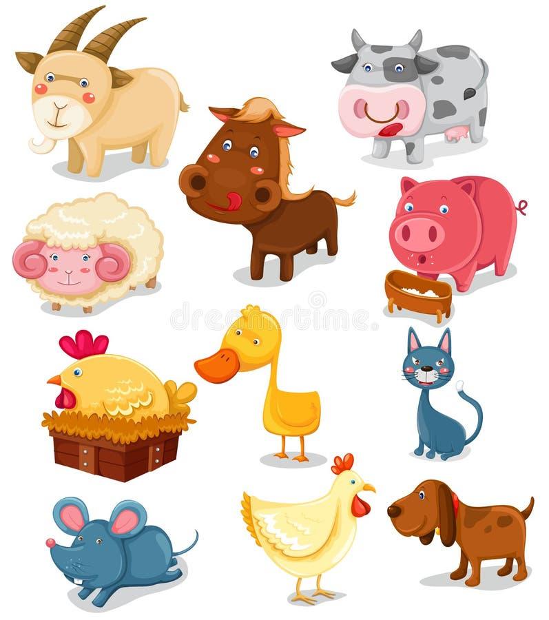 Geplaatste de dieren van het landbouwbedrijf royalty-vrije illustratie