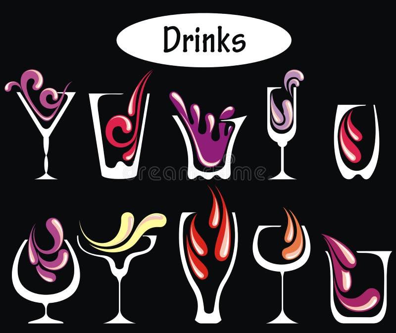 Geplaatste de dranken van de alcohol royalty-vrije stock afbeeldingen