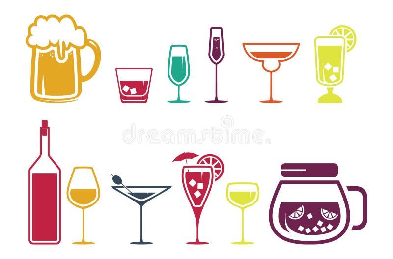 Geplaatste de drankpictogrammen van de drankalcohol royalty-vrije illustratie