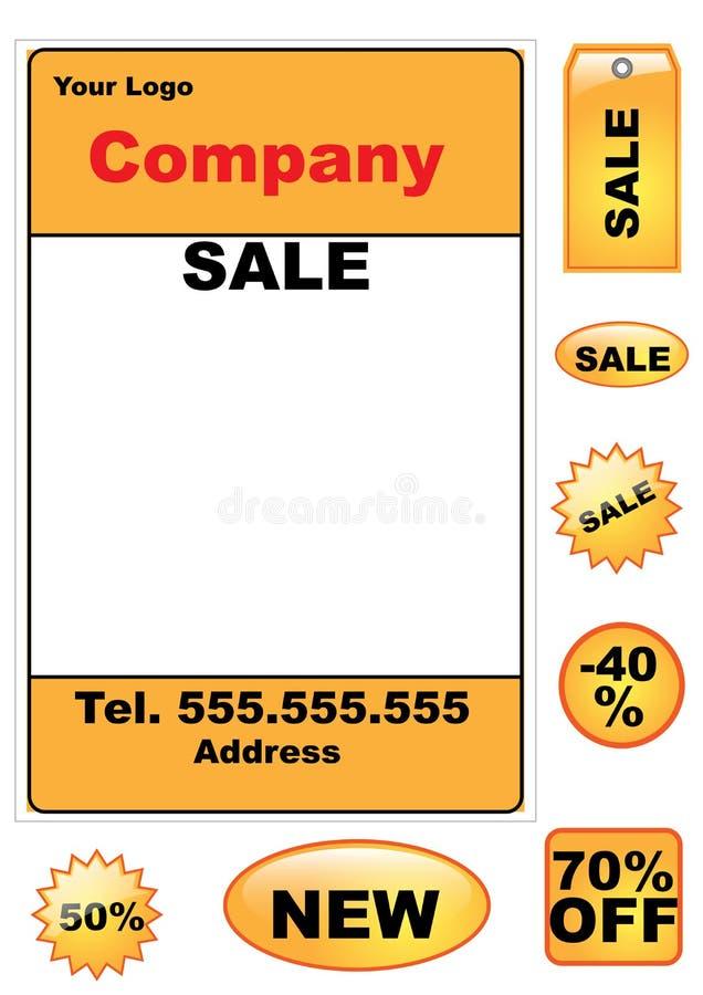 Geplaatste de elementen van de verkoop - vector stock illustratie