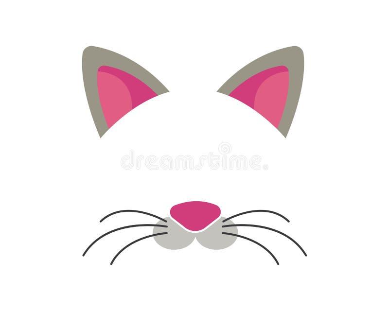 geplaatste de elementen van het kattengezicht Vector illustratie Dierlijke karakteroren en neus Het videoeffect van de grafiekfil vector illustratie