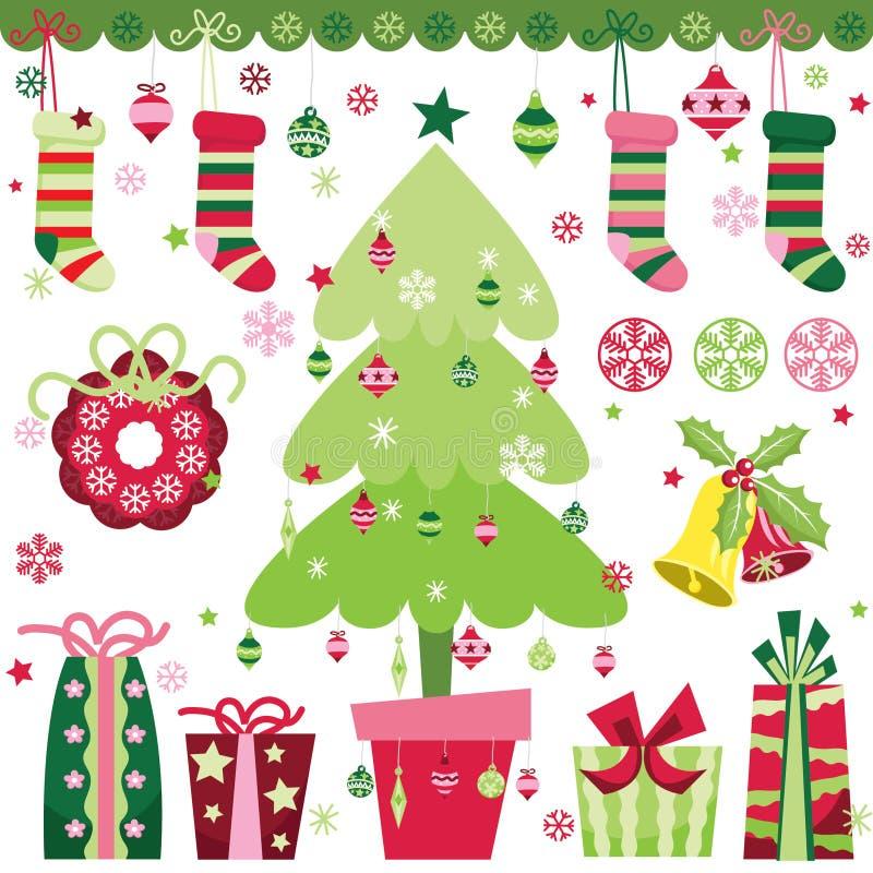 Geplaatste de Elementen van het Kerstmisontwerp stock illustratie