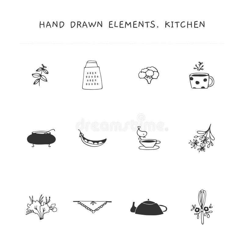 Geplaatste de elementen van het keukenembleem Vectorhand getrokken voorwerpen royalty-vrije illustratie