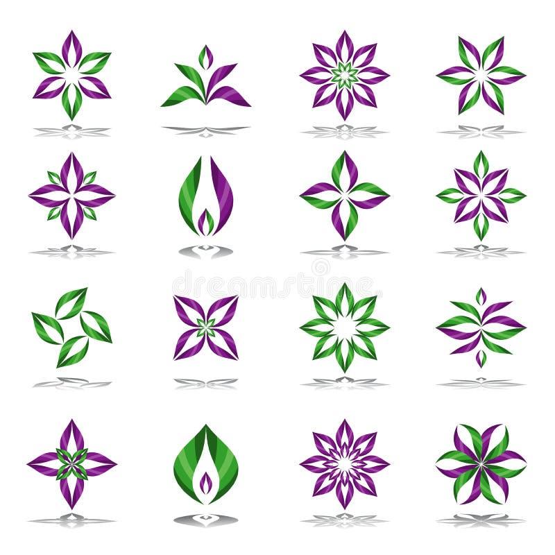 Geplaatste de elementen van het ontwerp Abstracte BloemenPictogrammen stock illustratie