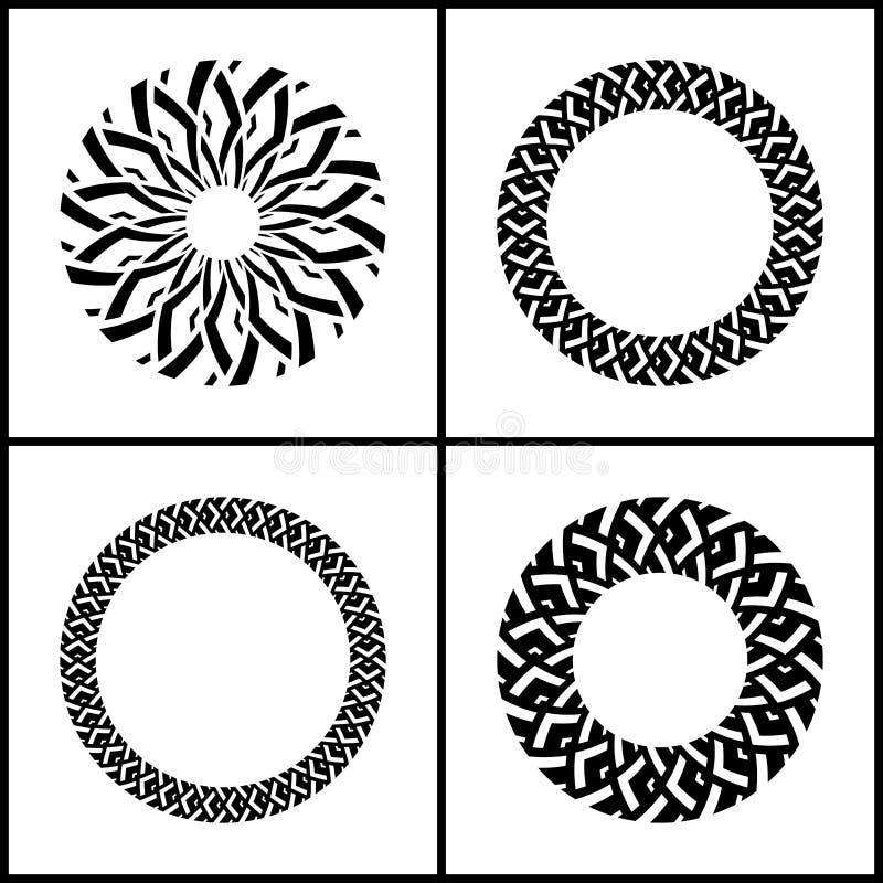 Geplaatste de elementen van het ontwerp Geometrische patronen in cirkelvorm royalty-vrije illustratie
