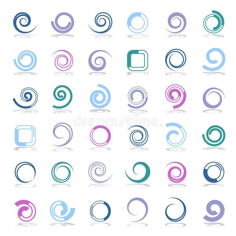 Geplaatste de elementen van het ontwerp Spiraal, cirkel en vierkante vormen royalty-vrije illustratie