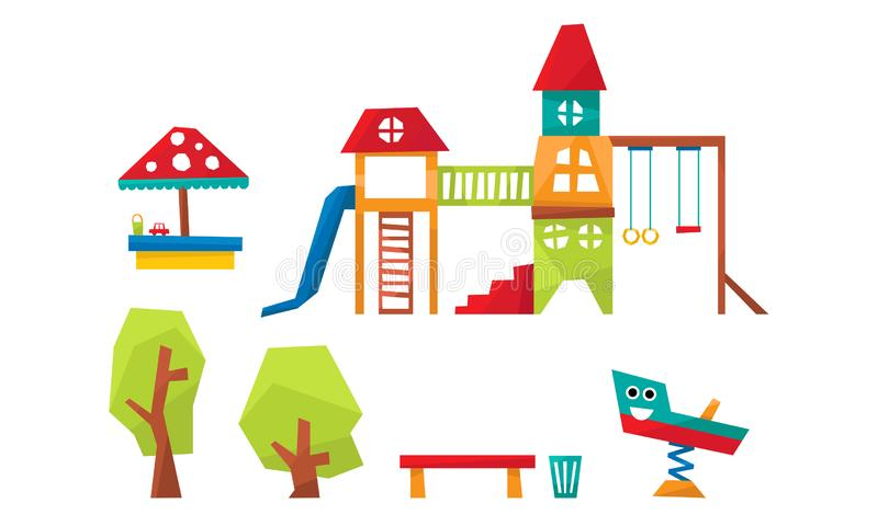 Geplaatste de Elementen van de jonge geitjesspeelplaats, Sport en Recreatiegrondmateriaal, Dia, Ladder, Schommeling, Sandpit, Bom stock illustratie