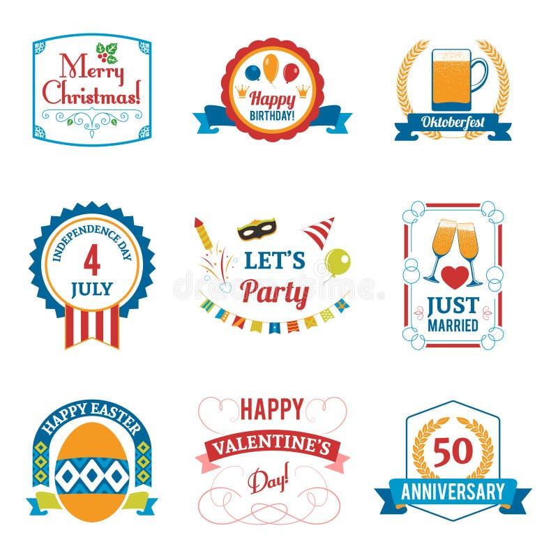 Geplaatste de Emblemen van de vakantieviering royalty-vrije illustratie