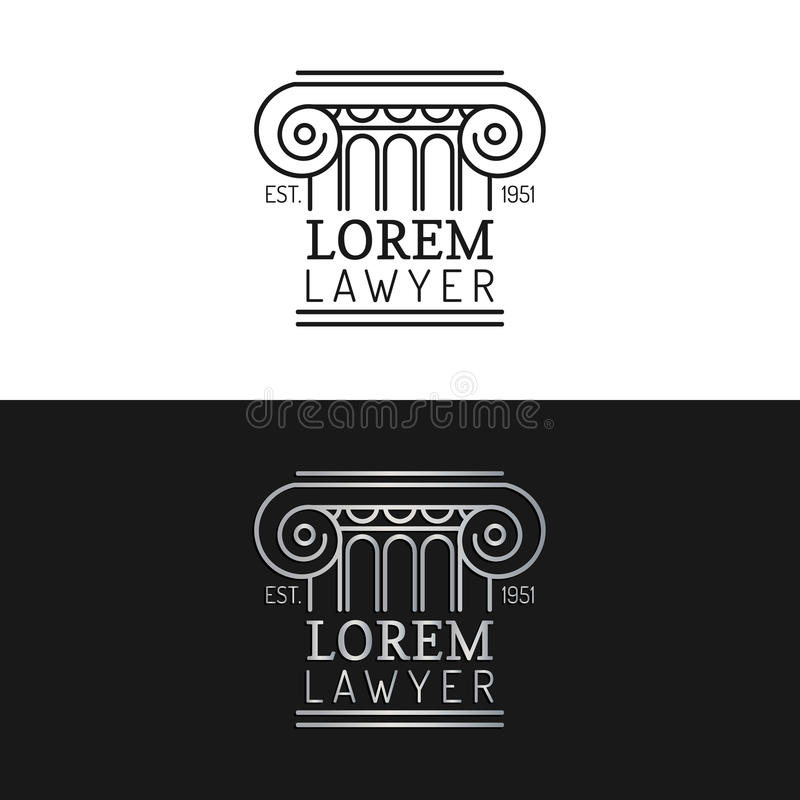 Geplaatste de emblemen van het wetsbureau Vector uitstekende procureur, verdedigeretiketten, juridische vaste kentekens Akte, pri stock illustratie