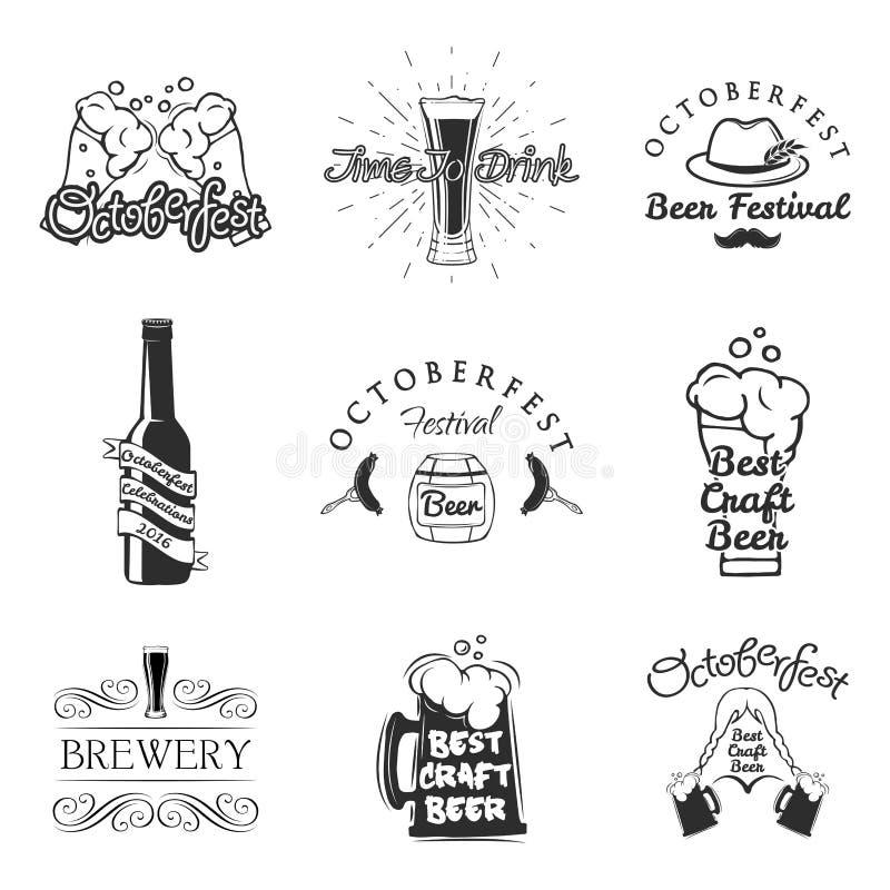 Geplaatste de etiketten van de bierbar Het ontwerpelementen van het embleem Het etiket van het brouwerijbier, brouwerijembleem en stock illustratie