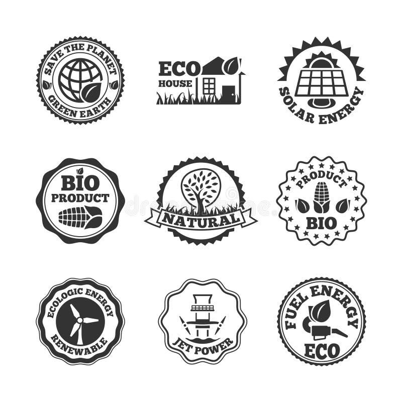 Geplaatste de etiketten van de Ecoenergie vector illustratie
