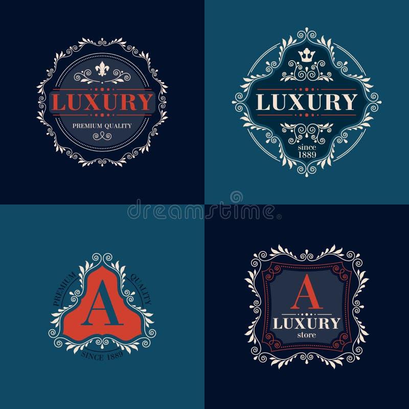 Geplaatste de etiketten van het het malplaatjeornament van het luxeembleem royalty-vrije illustratie