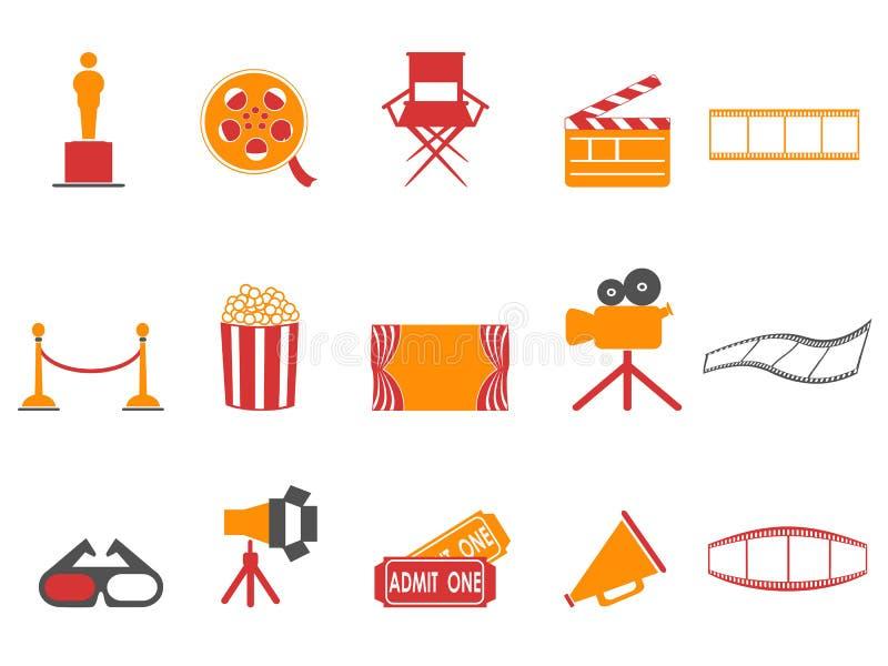 Geplaatste de filmspictogrammen van de oranje en rode kleurenreeks vector illustratie