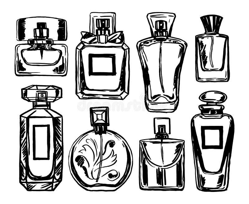 Geplaatste de flessen van het parfum Vector vector illustratie