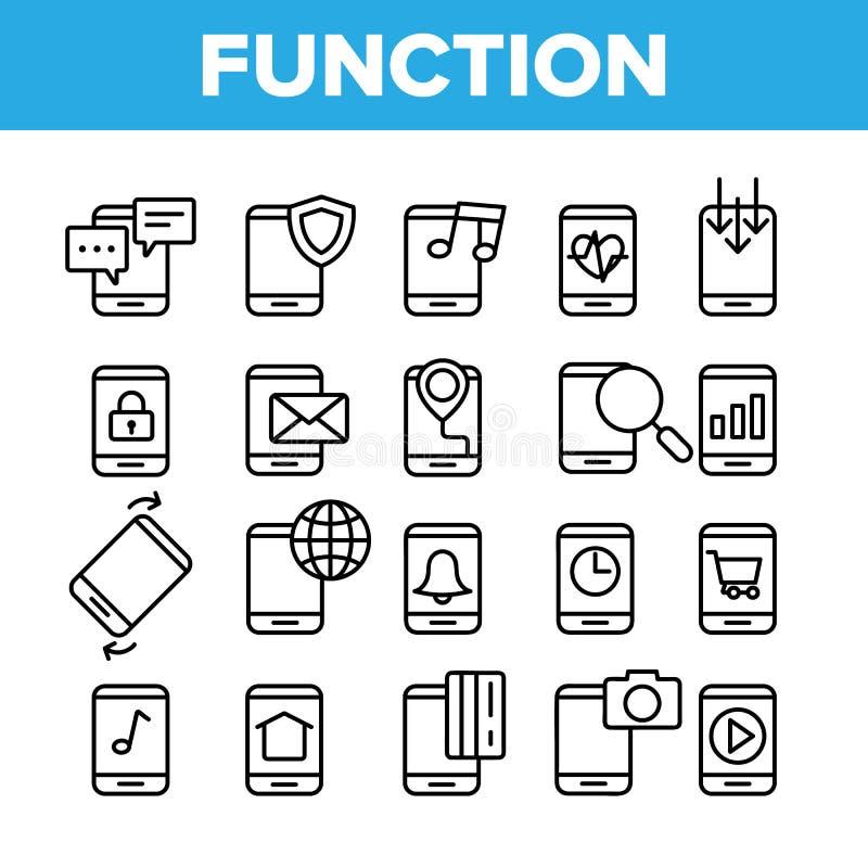 Geplaatste de Functie Vector Lineaire Pictogrammen van Smartphone App royalty-vrije illustratie