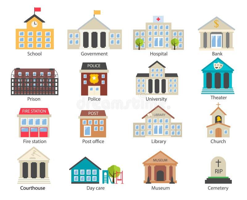 Geplaatste de gebouwenpictogrammen van de kleurenoverheid vector illustratie