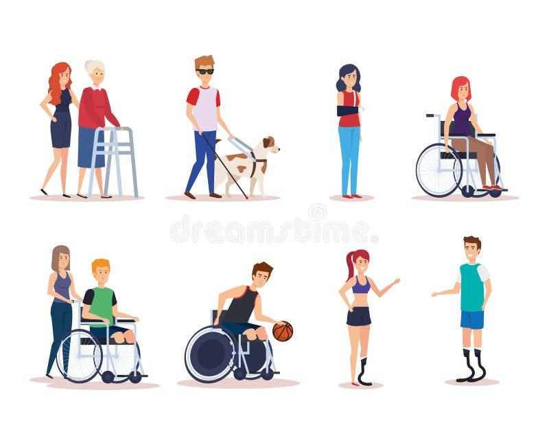 Geplaatste de gehandicapten ontwerpen stock illustratie