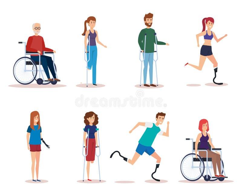 Geplaatste de gehandicapten ontwerpen vector illustratie