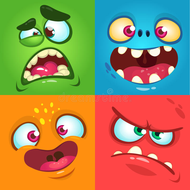 Geplaatste de gezichten van het beeldverhaalmonster Vectorreeks van vier Halloween-monstergezichten stock illustratie