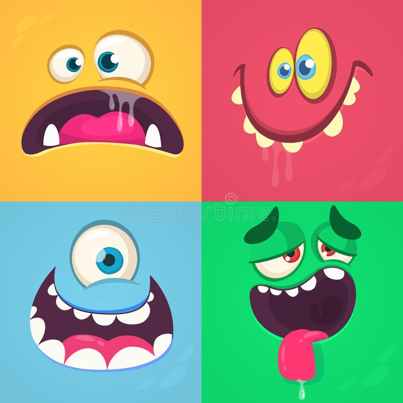 Geplaatste de gezichten van het beeldverhaalmonster Vectorreeks van vier Halloween-monstergezichten vector illustratie