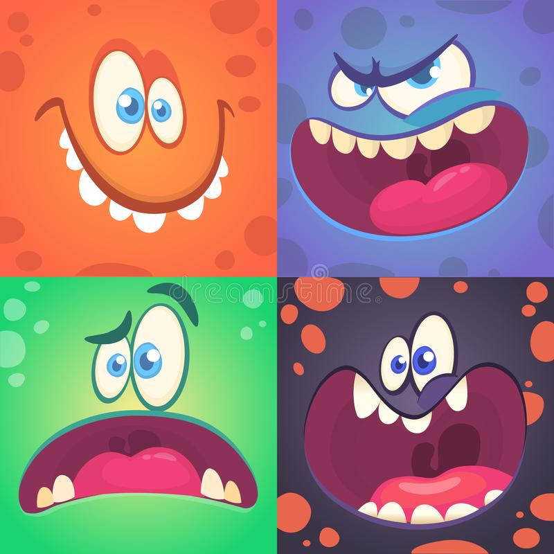Geplaatste de gezichten van het beeldverhaalmonster Vectorreeks van vier Halloween-monstergezichten met verschillende uitdrukking royalty-vrije illustratie