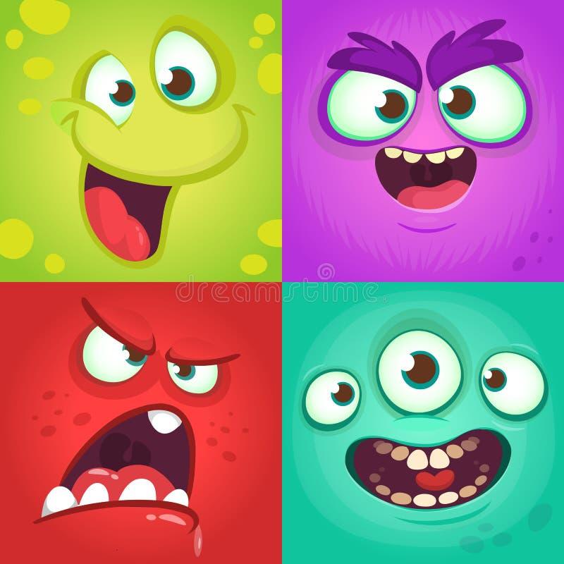 Geplaatste de gezichten van het beeldverhaalmonster Vectorreeks van vier Halloween-monstergezichten met verschillende uitdrukking vector illustratie