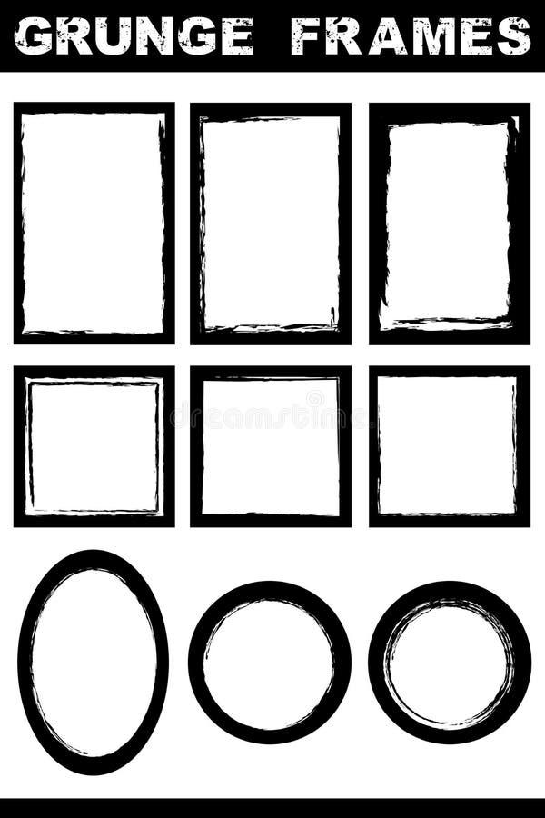 Geplaatste de grensframes van Grunge vector illustratie