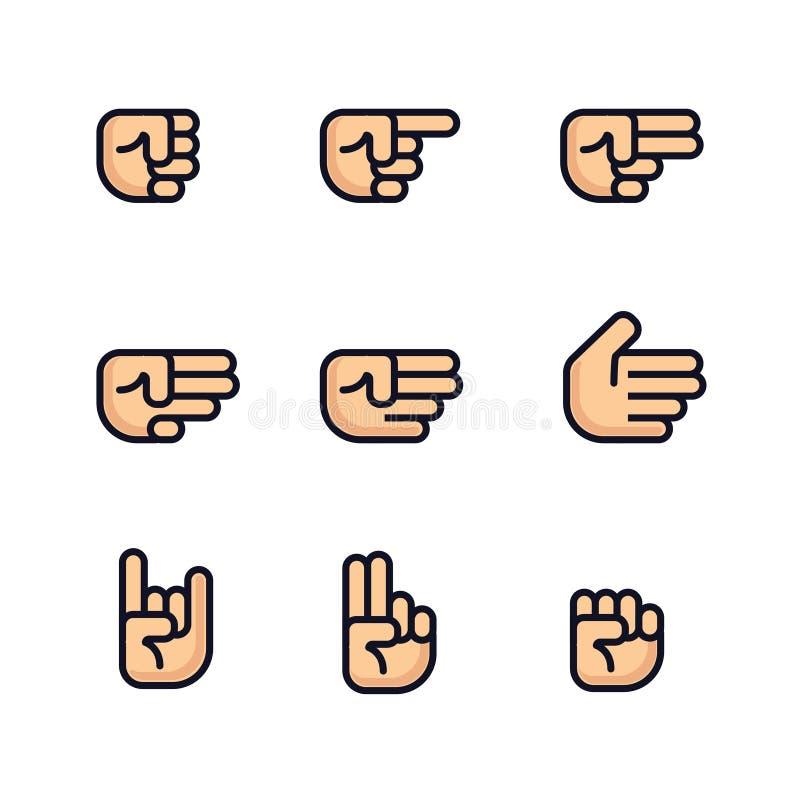 Geplaatste de handen van het beeldverhaal Verschillende gebaren van vuist Geïsoleerde vectorillustratie Vlak lijnontwerp vector illustratie