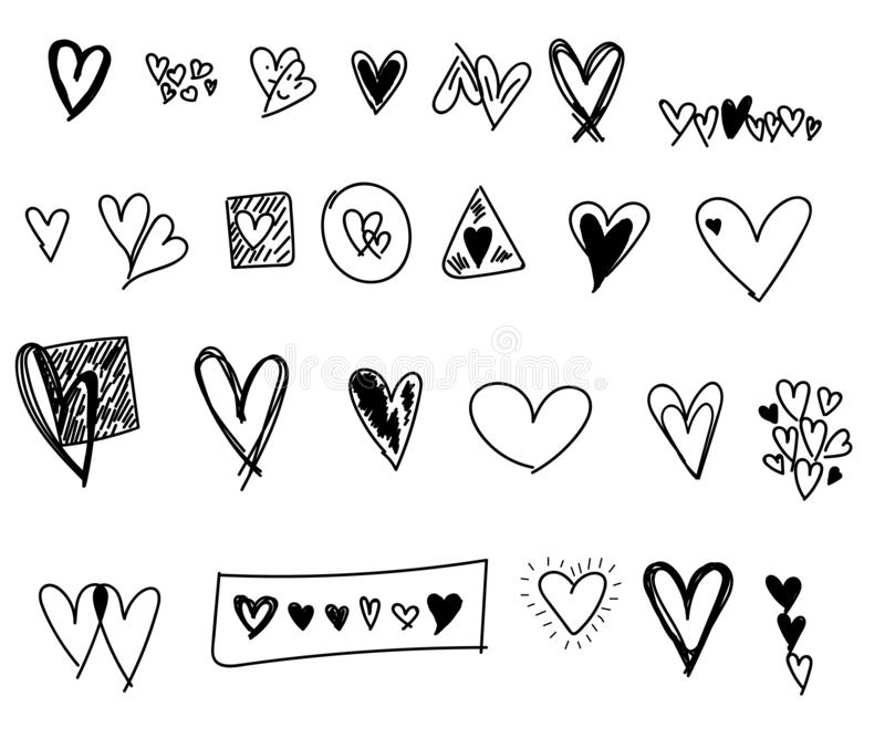 Geplaatste de hartenkrabbels van de valentijnskaartendag stock afbeeldingen