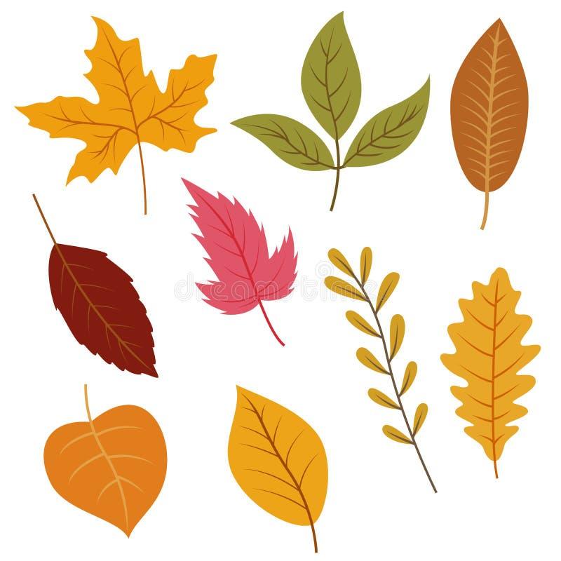 Geplaatste de herfstbladeren, geïsoleerd op witte achtergrond royalty-vrije illustratie