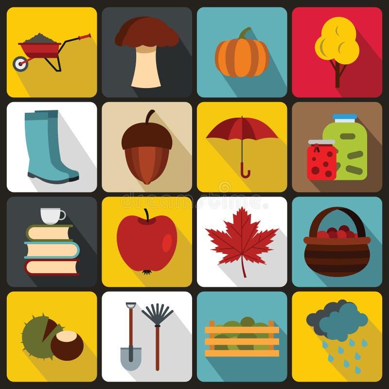 Geplaatste de herfstpictogrammen, vlakke ctyle vector illustratie