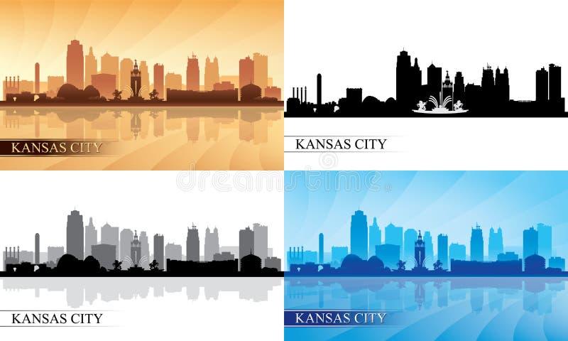 Geplaatste de horizonsilhouetten van Kansas City royalty-vrije illustratie