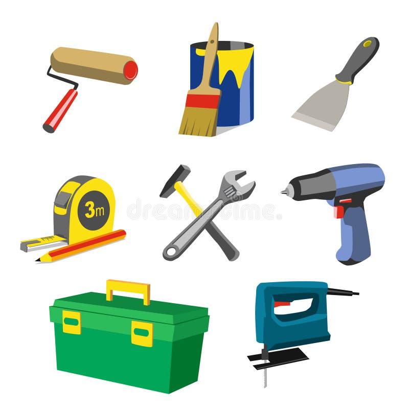 Geplaatste de hulpmiddeleninstrumenten van de huisreparatie stock illustratie