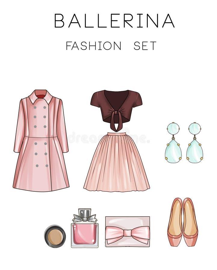 Geplaatste de Illustratie van de roostermanier - Klem Art Set van de kleren en de toebehoren van de vrouw stock illustratie