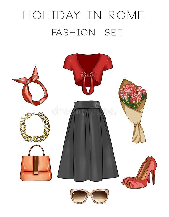 Geplaatste de Illustratie van de roostermanier - Klem Art Set van de kleren en de toebehoren van de vrouw vector illustratie