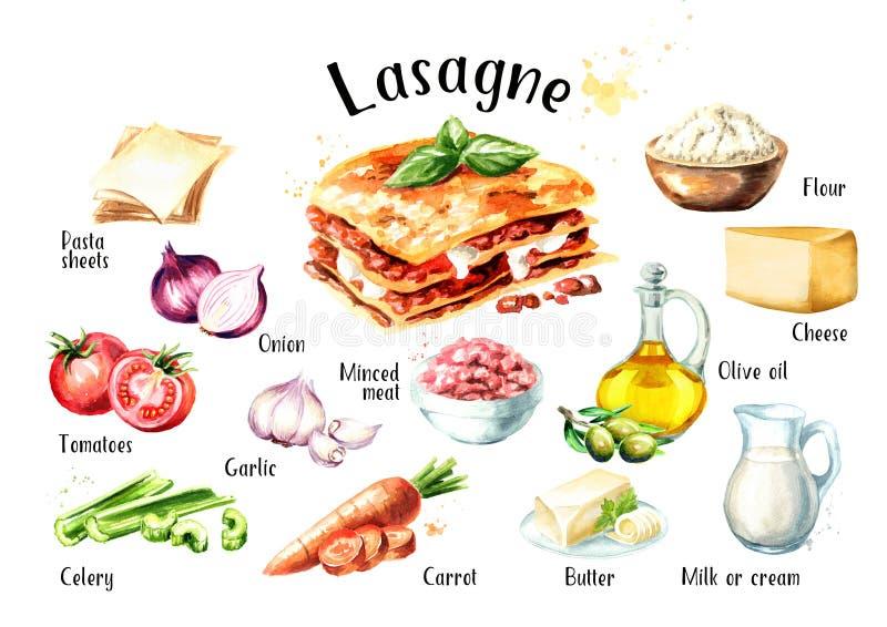 Geplaatste de ingrediënten van het lasagnarecept Waterverfhand getrokken die illustratie op witte achtergrond wordt geïsoleerd royalty-vrije illustratie