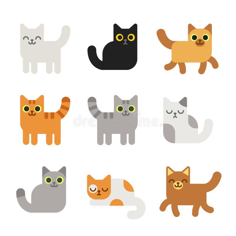 Geplaatste de katten van het beeldverhaal vector illustratie