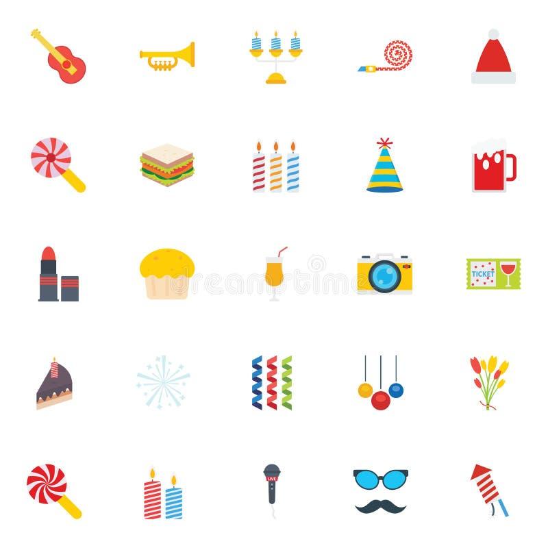 Geplaatste de Kleuren Vectorpictogrammen van de Kerstmispartij die gemakkelijk kunnen worden gewijzigd of uitgeven royalty-vrije illustratie