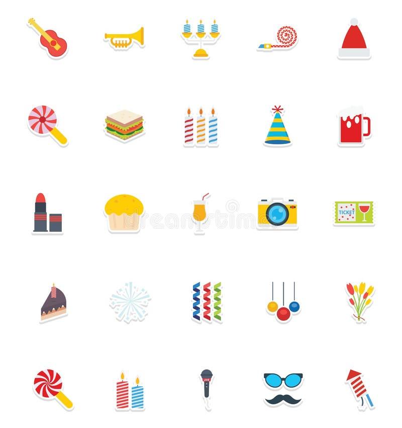 Geplaatste de Kleuren Vectorpictogrammen van de Kerstmispartij die gemakkelijk kunnen worden gewijzigd of uitgeven vector illustratie
