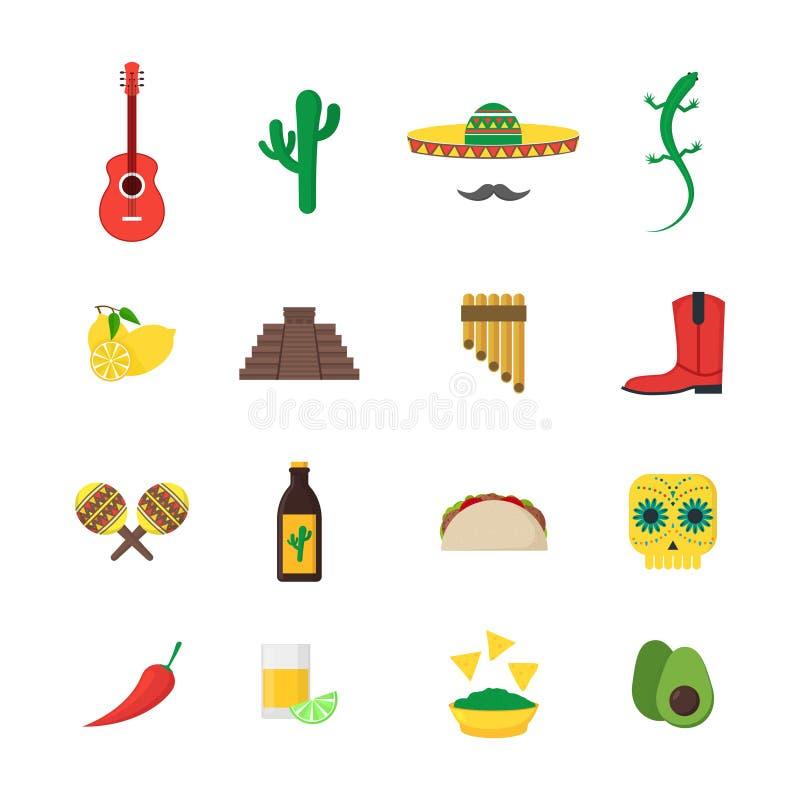 Geplaatste de Kleurenpictogrammen van de beeldverhaal Mexicaanse Cultuur Vector stock illustratie